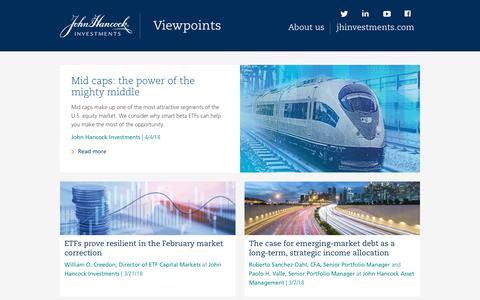 Screenshot of Home Page jhinvestmentsblog.com - Viewpoints and investment insight | John Hancock Investments - captured May 8, 2018