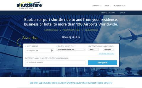 ShuttleFare.com                         Airport Shuttle   Super Shuttle   Blue Van   Airport Shuttles