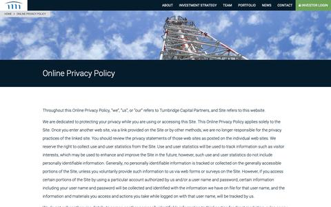 Screenshot of Privacy Page turnbridgecapital.com - Online Privacy Policy - Turnbridge Capital Partners - captured Oct. 19, 2018