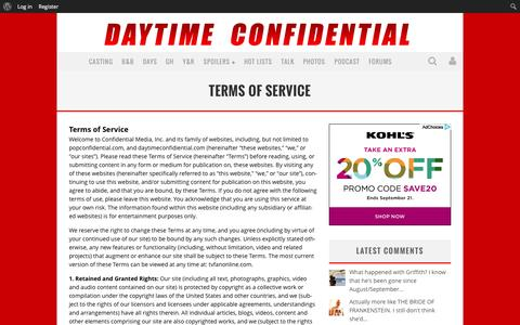 Screenshot of Terms Page daytimeconfidential.com - Terms of Service - Daytime Confidential - captured Sept. 23, 2014