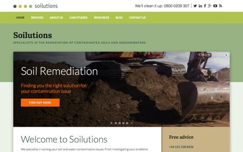 Screenshot of Home Page soilutions.co.uk - Soilutions – Specialists in the remediation of contaminated soils and groundwaters - captured Aug. 16, 2015