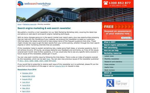 Screenshot of Signup Page websearchworkshop.com.au - Search Engine Marketing Newsletter, Web Search News, Tips & Advice: Web Search Workshop, Sydney, Australia - captured Oct. 26, 2014