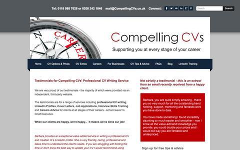 Screenshot of Testimonials Page compellingcvs.co.uk - CV Writing Testimonials - Compelling CVs - captured Sept. 30, 2014