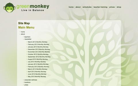Screenshot of Site Map Page greenmonkey.com - Site Map - captured Sept. 25, 2014