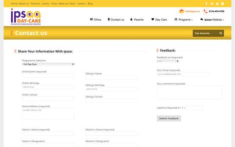 Screenshot of Contact Page ipsaa.in - Contact | ipsaa Day Care for Children in Gurgaon - captured Oct. 31, 2014