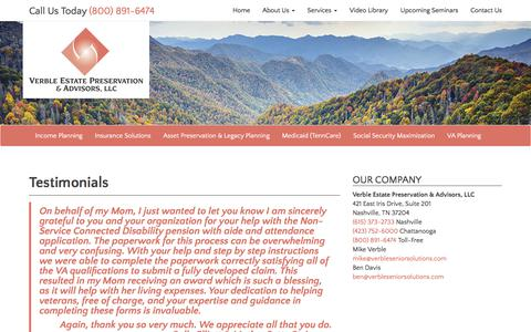 Screenshot of Testimonials Page verbleseniorsolutions.com - Testimonials - Verble Estate Preservation & Advisors, LLC - captured Nov. 5, 2017