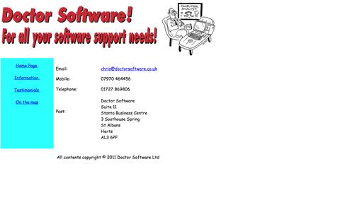 Screenshot of Contact Page doctorsoftware.co.uk - Doctor Software - Software health checks, troubleshooting. - captured Oct. 5, 2014