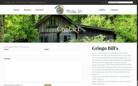 Screenshot of Contact Page gringobills.com - Contact   gringobills.com - captured June 15, 2016