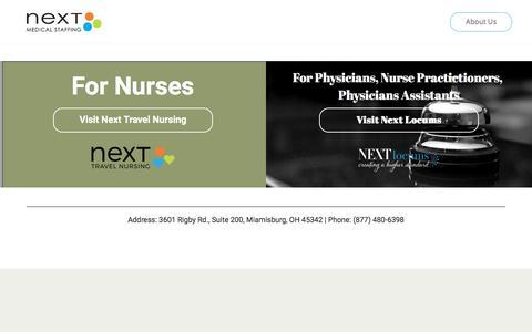 Screenshot of Home Page nextmedicalstaffing.com - Home – Next Medical Staffing - captured Sept. 20, 2018