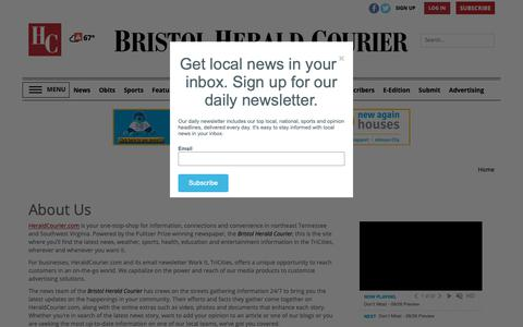 Screenshot of About Page heraldcourier.com - About Us | Site | heraldcourier.com - captured Sept. 27, 2018