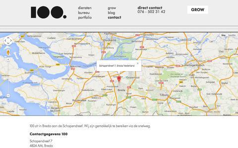 Screenshot of Contact Page 100.nl - Contact met 100   contactgegevens, telefoonnummer, email en adres 100 - captured Oct. 29, 2014