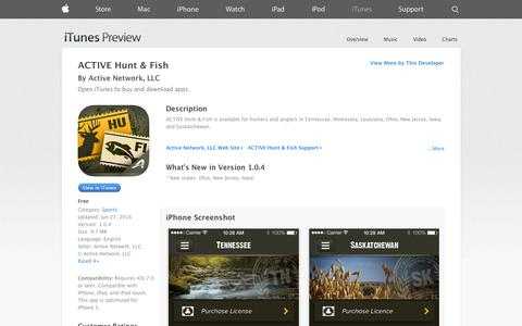 Screenshot of iOS App Page apple.com - ACTIVE Hunt & Fish on the App Store on iTunes - captured Oct. 29, 2014