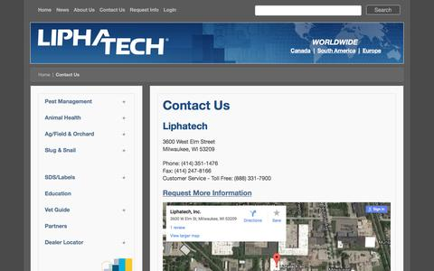 Screenshot of Contact Page liphatech.com - Contact Us - captured Nov. 10, 2016