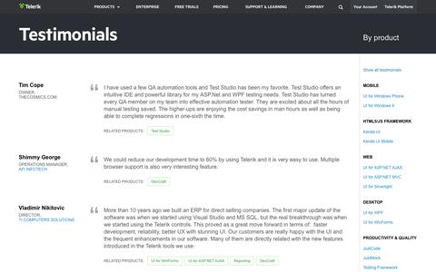 Screenshot of Testimonials Page telerik.com - Telerik >> Customer Testimonials - captured Oct. 10, 2014