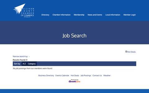 Screenshot of Jobs Page catskills.com - Job Search - Sullivan County Chamber of Commerce - NY - captured May 29, 2019