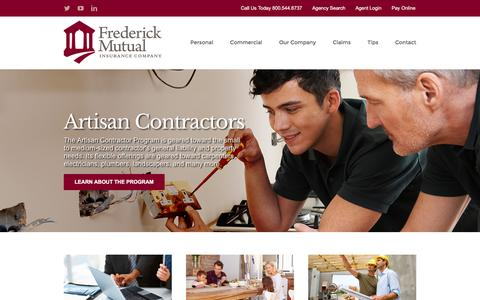 Screenshot of Home Page frederickmutual.com - Frederick Mutual Insurance Company – Providing Peace of Mind Since 1843 - captured Nov. 25, 2016