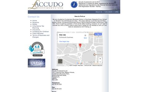 Screenshot of Contact Page accudo.co.uk - Accudo Investments Ltd - captured Oct. 7, 2017