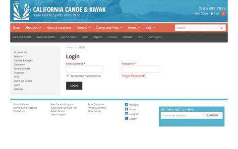 Screenshot of Login Page calkayak.com - California Canoe & Kayak - Login - captured Oct. 16, 2016