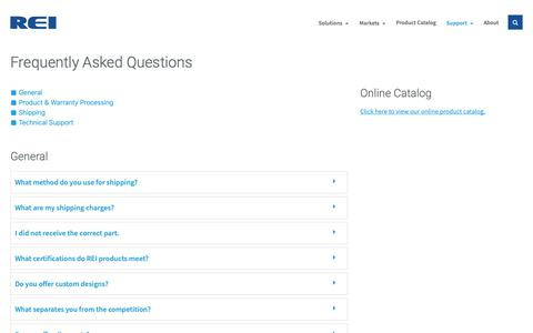 Screenshot of FAQ Page radioeng.com - Frequently Asked Questions - REI - captured Oct. 18, 2018
