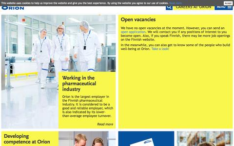 Screenshot of Jobs Page orion.fi - Careers at Orion | Orion - captured Oct. 9, 2014