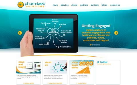 Screenshot of Home Page pharmiwebsolutions.com - Pharmiweb Solutions - PharmiWeb Solutions | Digital Solutions to increase engagement with healthcare professionals, patients, carers, consumers and beyond - captured July 11, 2014