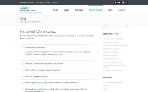 Screenshot of FAQ Page buildmypodcast.com - FAQ's | Build My Podcast.com - captured Oct. 5, 2014