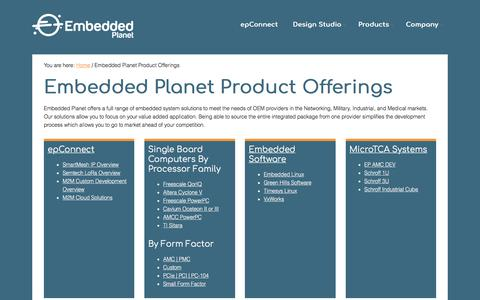 Screenshot of Products Page embeddedplanet.com - Embedded Planet Product Offerings » Embedded Planet - captured July 18, 2018