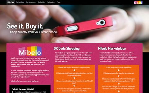 Screenshot of Home Page mibelo.com - Mibelo - Mobile Commerce Technology - captured Sept. 30, 2014