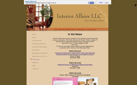 Screenshot of Press Page interioraffairssa.com - Interior Affairs LLC - In The News - captured Feb. 11, 2016