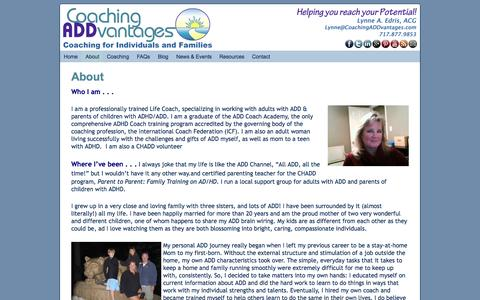 Screenshot of About Page coachingaddvantages.com - About ADHD Coach Lynne Edris - captured Sept. 30, 2014