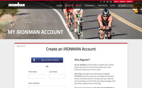Screenshot of Signup Page ironman.com - My IRONMAN Account - IRONMAN Official Site | IRONMAN triathlon 140.6 & 70.3 - captured Nov. 20, 2015