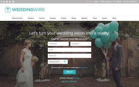 Screenshot of Signup Page weddingwire.com captured Jan. 31, 2016