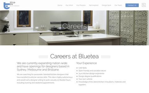 Screenshot of Jobs Page bluetea.com.au - Careers | Blue Tea Kitchens - captured Nov. 22, 2016