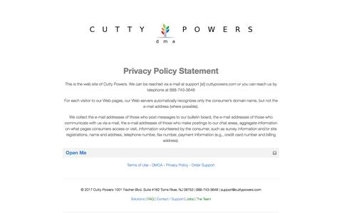 Privacy Policy - Cutty Powers