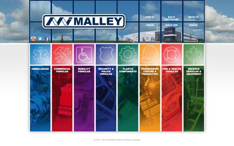 Screenshot of Home Page malleyindustries.com - Malley Industries Inc. - captured Oct. 4, 2014