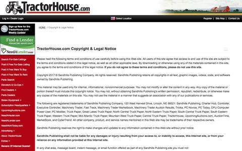 Screenshot of Terms Page tractorhouse.com - TractorHouse.com | Copyright & Legal Notice. - captured June 21, 2017