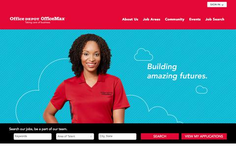 Screenshot of Jobs Page officedepot.com - Careers - Office Depot OfficeMax - captured April 27, 2018