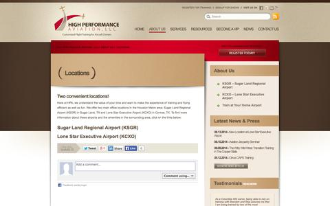 Screenshot of Locations Page flyhpa.com - Locations // High Performance Aviation, LLC - captured Oct. 3, 2014