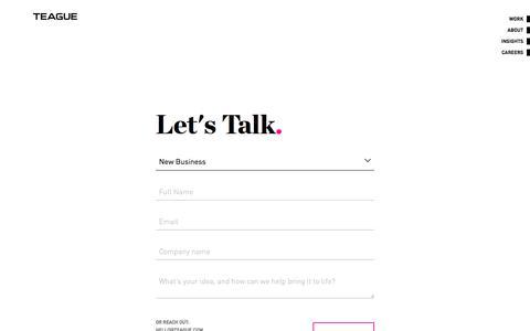 Screenshot of Contact Page teague.com - Contact   Teague - captured Oct. 9, 2019