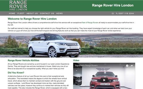 Screenshot of About Page rangeroverhirelondon.co.uk - Range Rover 4x4 Hire London | Competitive Prices. Quality Vehicles. - captured Jan. 31, 2018