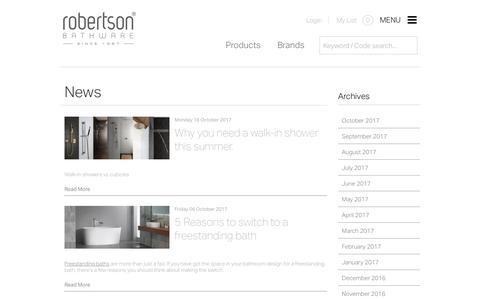 Screenshot of Press Page robertson.co.nz - News   Leading brands & bathroom design   Robertson - captured Oct. 22, 2017