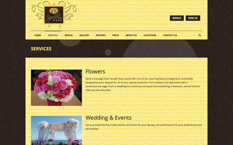 Screenshot of Services Page yellowvase.com - Bakery, Flowers, & Cafe | Yellow Vase | Services - captured Oct. 19, 2018