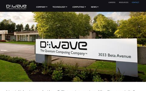 Screenshot of Contact Page dwavesys.com - Contact | D-Wave Systems - captured Sept. 13, 2014