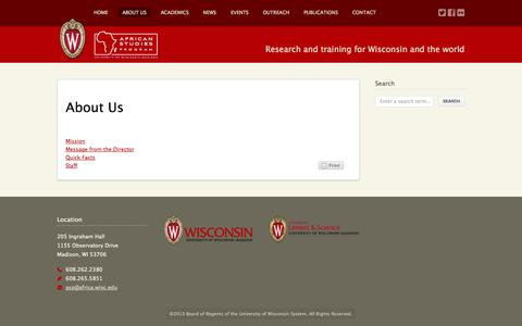 Screenshot of About Page wisc.edu - African Studies Program at Wisconsin  – About Us - captured Sept. 18, 2014