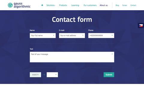Screenshot of Contact Page gaussalgo.com - Contact us | Gauss Algorithmic - captured April 24, 2016