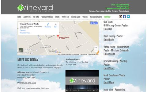 Screenshot of Contact Page vineyardtoledo.org - Vineyard Church Perrysburg - Perrysburg OH 419-874-4808 - captured June 18, 2016