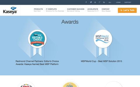 Screenshot of Press Page kaseya.com - IT Awards - Kaseya - captured May 10, 2017