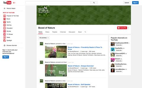 Screenshot of YouTube Page youtube.com - Boost of Nature  - YouTube - captured Oct. 23, 2014