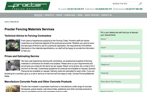 Screenshot of Services Page fencingmaterials.co.uk - Procter Fencing and Concrete Products comprehensive services - captured Aug. 25, 2017