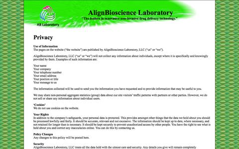 Screenshot of Privacy Page ablaboratory.com - Privacy Policy - captured Oct. 4, 2014
